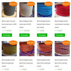 Koopjeshoek gevuld met English braids touw